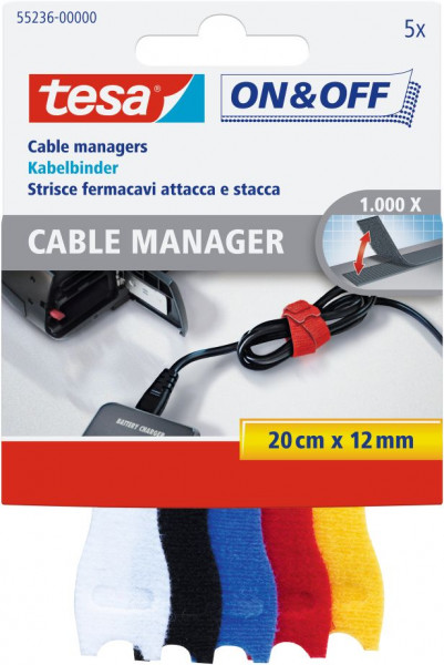 tesa® On & Off® Cable Manager, Klett Kabelbinder bunt 5 x 20 cm x 12 mm